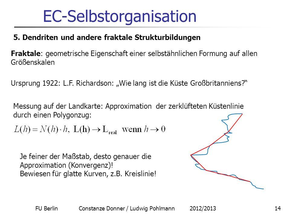 FU Berlin Constanze Donner / Ludwig Pohlmann 2012/201314 EC-Selbstorganisation 5. Dendriten und andere fraktale Strukturbildungen Fraktale: geometrisc