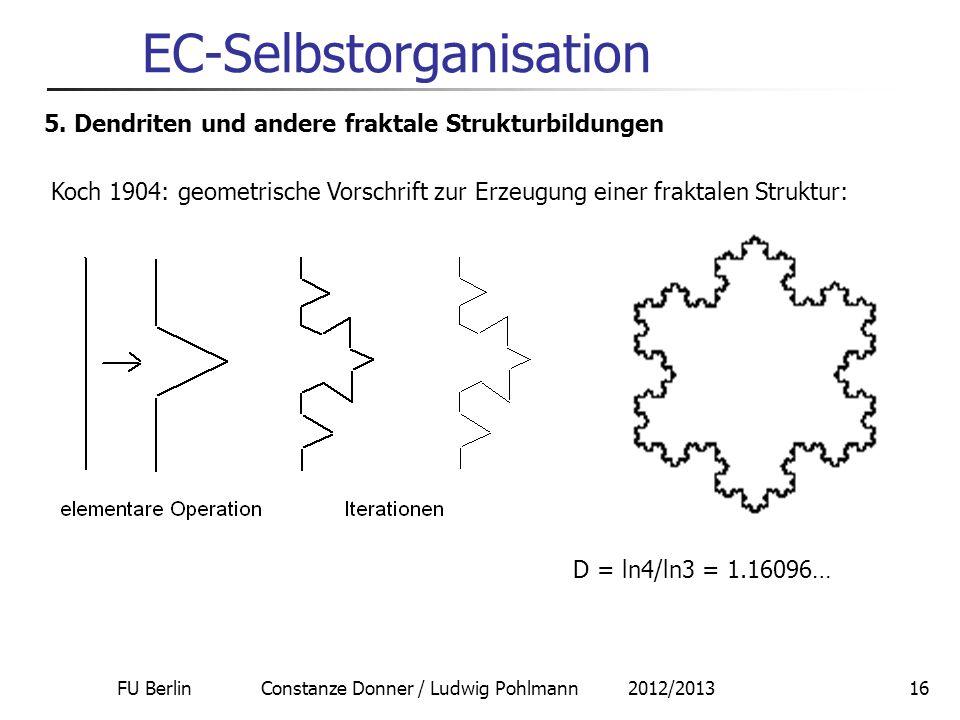 FU Berlin Constanze Donner / Ludwig Pohlmann 2012/201316 EC-Selbstorganisation 5. Dendriten und andere fraktale Strukturbildungen Koch 1904: geometris