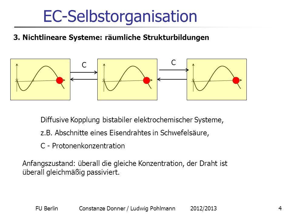FU Berlin Constanze Donner / Ludwig Pohlmann 2012/20134 EC-Selbstorganisation 3. Nichtlineare Systeme: räumliche Strukturbildungen C C Diffusive Koppl