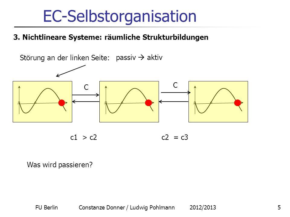 FU Berlin Constanze Donner / Ludwig Pohlmann 2012/20135 EC-Selbstorganisation 3. Nichtlineare Systeme: räumliche Strukturbildungen C C Störung an der