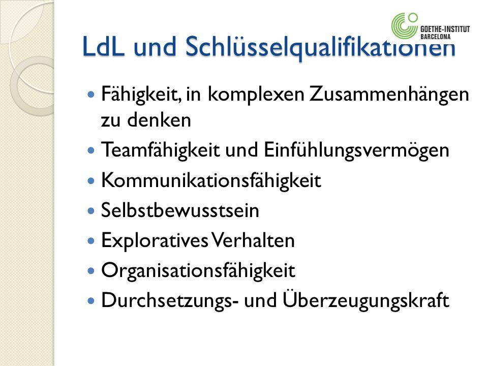 LdL und Schlüsselqualifikationen Fähigkeit, in komplexen Zusammenhängen zu denken Teamfähigkeit und Einfühlungsvermögen Kommunikationsfähigkeit Selbst