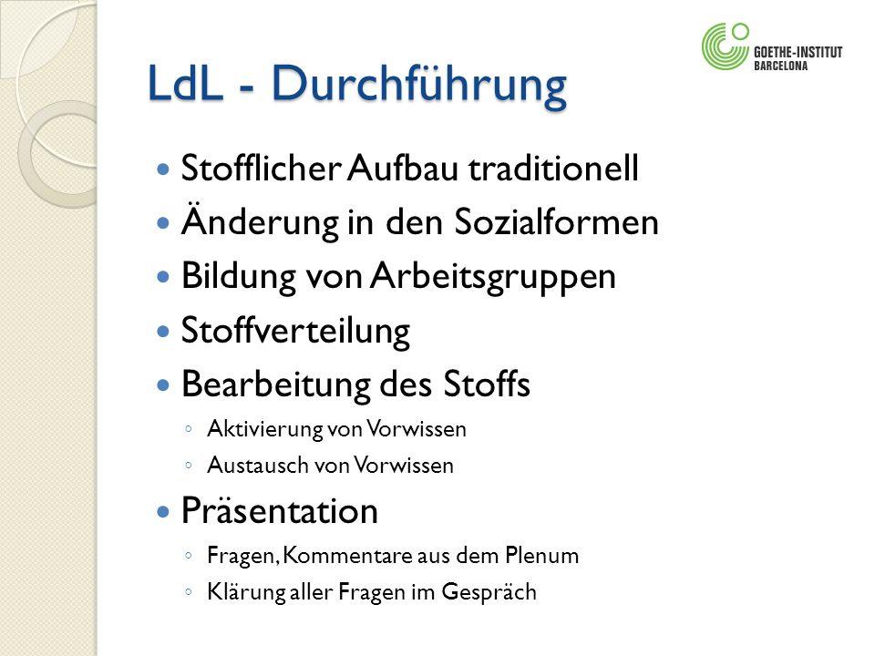 LdL - Durchführung Stofflicher Aufbau traditionell Änderung in den Sozialformen Bildung von Arbeitsgruppen Stoffverteilung Bearbeitung des Stoffs Akti