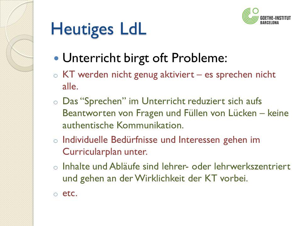 Heutiges LdL Unterricht birgt oft Probleme: o KT werden nicht genug aktiviert – es sprechen nicht alle. o Das Sprechen im Unterricht reduziert sich au