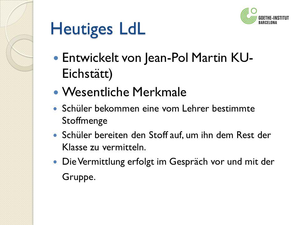 Heutiges LdL Entwickelt von Jean-Pol Martin KU- Eichstätt) Wesentliche Merkmale Schüler bekommen eine vom Lehrer bestimmte Stoffmenge Schüler bereiten