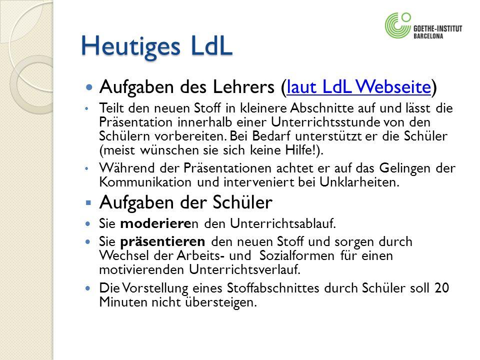 Heutiges LdL Aufgaben des Lehrers (laut LdL Webseite)laut LdL Webseite Teilt den neuen Stoff in kleinere Abschnitte auf und lässt die Präsentation inn