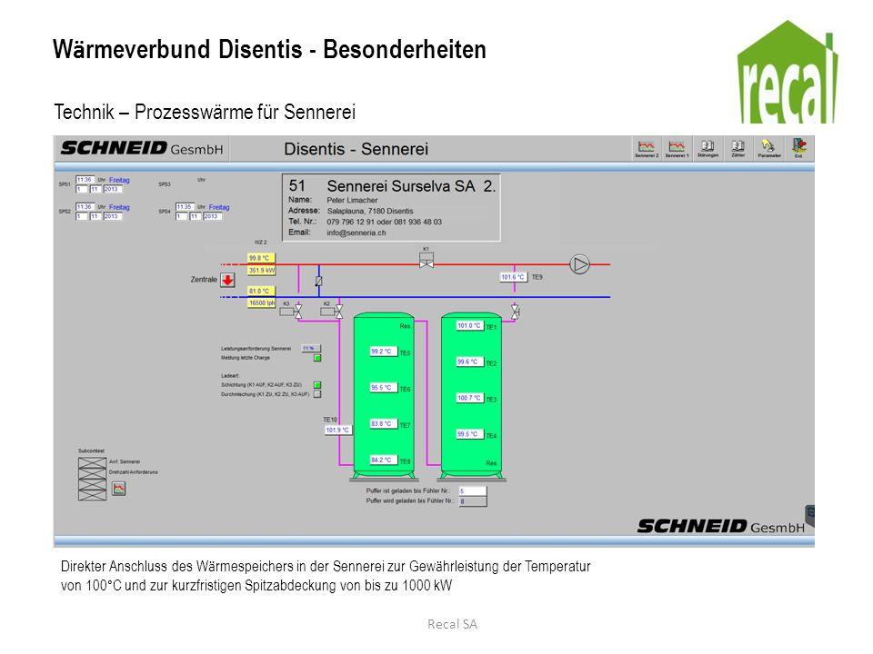 W ä rmeverbund Disentis - Besonderheiten Technik – Prozesswärme für Sennerei Direkter Anschluss des W ä rmespeichers in der Sennerei zur Gew ä hrleist