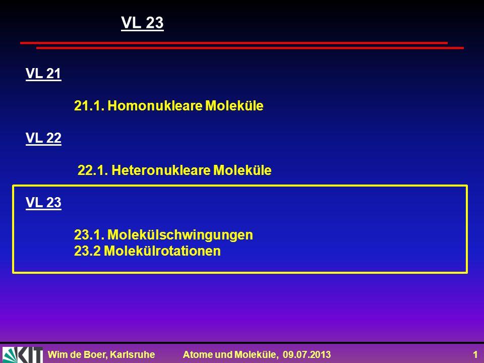 Wim de Boer, Karlsruhe Atome und Moleküle, 09.07.2013 1 VL 21 21.1. Homonukleare Moleküle VL 22 22.1. Heteronukleare Moleküle VL 23 23.1. Molekülschwi
