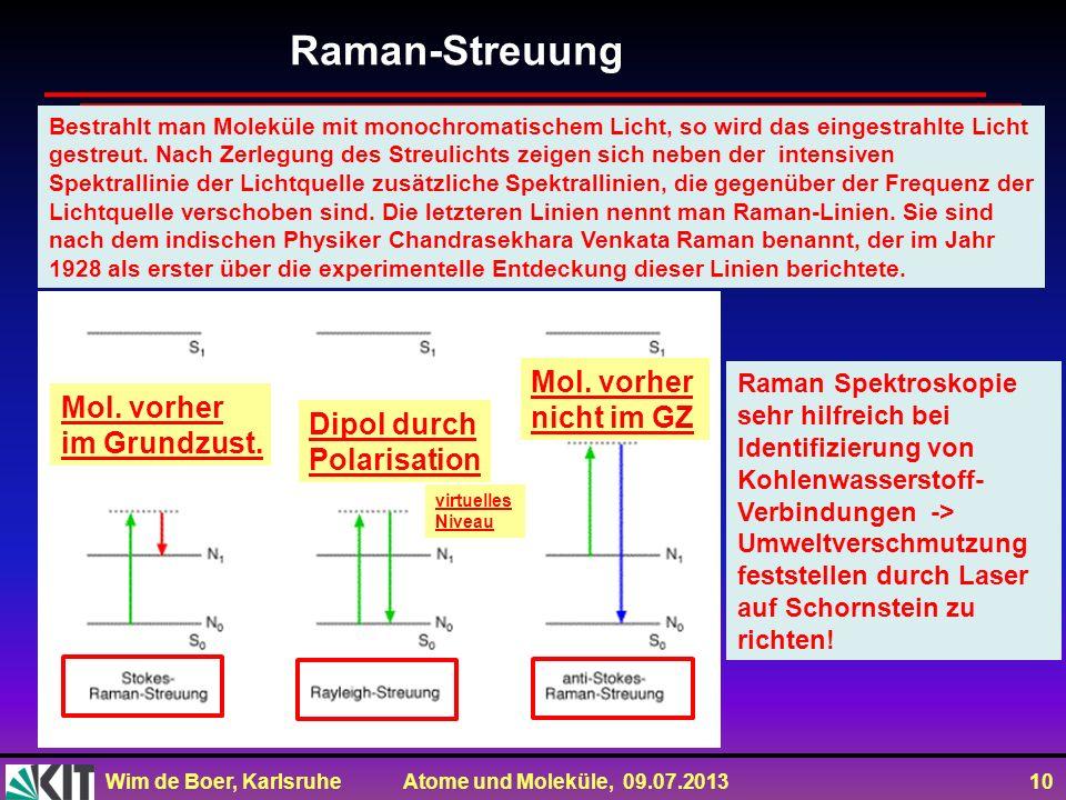 Wim de Boer, Karlsruhe Atome und Moleküle, 09.07.2013 10 Bestrahlt man Moleküle mit monochromatischem Licht, so wird das eingestrahlte Licht gestreut.