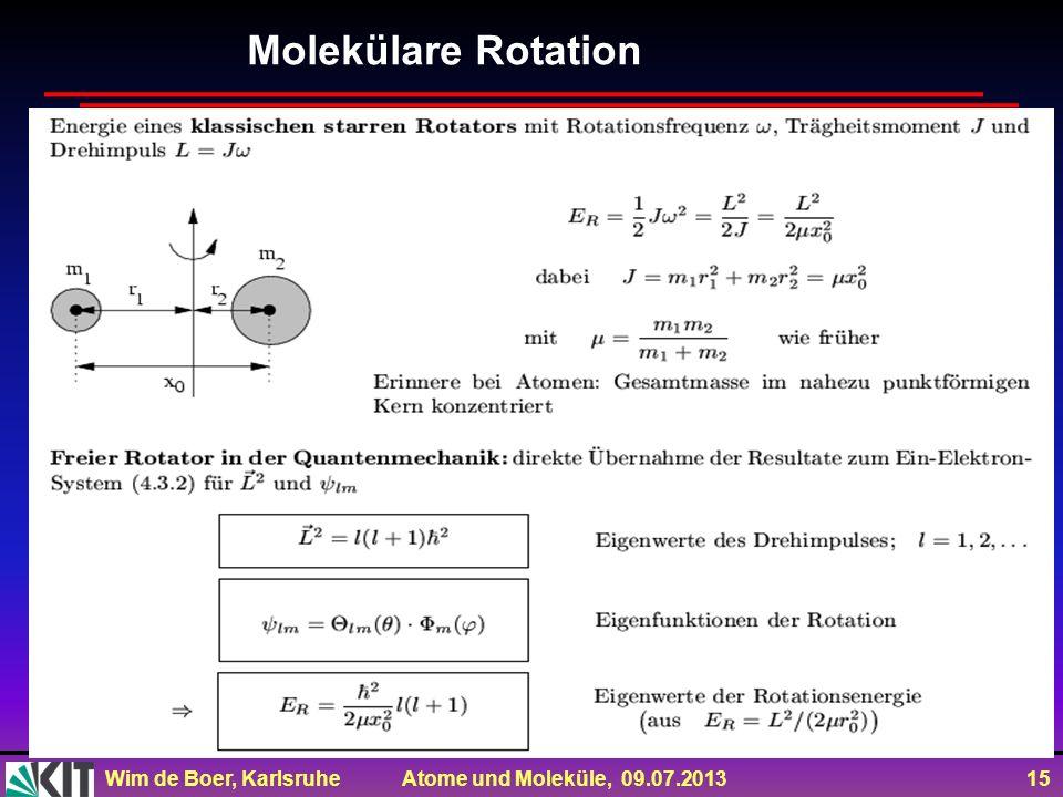 Wim de Boer, Karlsruhe Atome und Moleküle, 09.07.2013 15 Molekülare Rotation