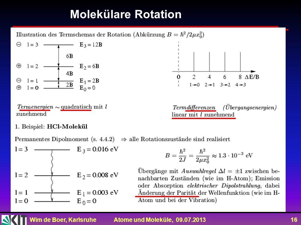 Wim de Boer, Karlsruhe Atome und Moleküle, 09.07.2013 16 Molekülare Rotation