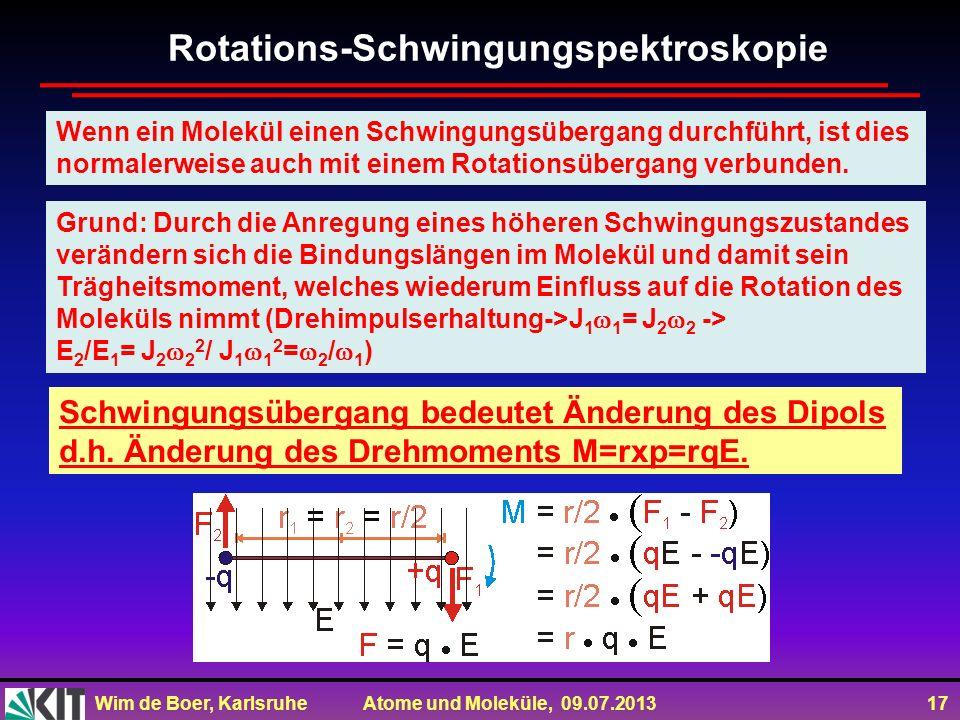 Wim de Boer, Karlsruhe Atome und Moleküle, 09.07.2013 17 Wenn ein Molekül einen Schwingungsübergang durchführt, ist dies normalerweise auch mit einem