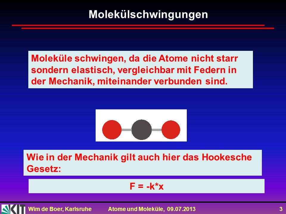 Wim de Boer, Karlsruhe Atome und Moleküle, 09.07.2013 3 Moleküle schwingen, da die Atome nicht starr sondern elastisch, vergleichbar mit Federn in der