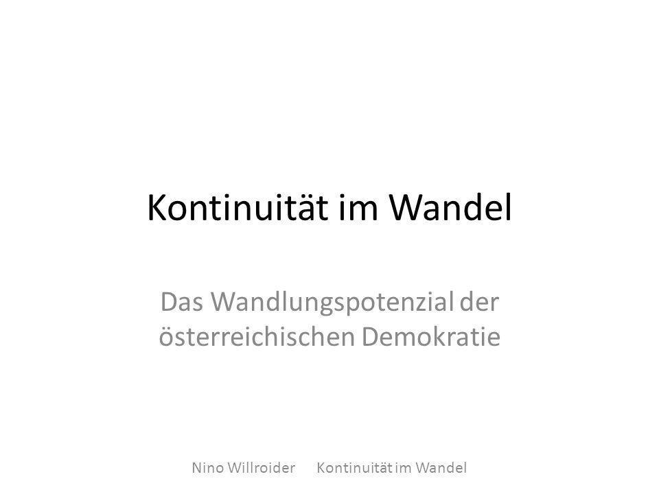 Kontinuität im Wandel Das Wandlungspotenzial der österreichischen Demokratie Nino Willroider Kontinuität im Wandel