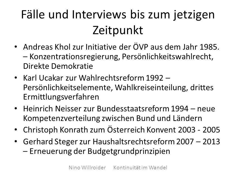 Fälle und Interviews bis zum jetzigen Zeitpunkt Andreas Khol zur Initiative der ÖVP aus dem Jahr 1985.