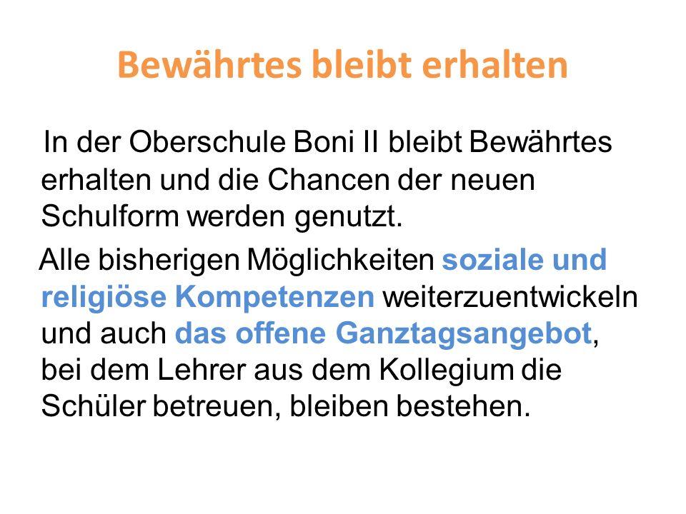 Bewährtes bleibt erhalten In der Oberschule Boni II bleibt Bewährtes erhalten und die Chancen der neuen Schulform werden genutzt. Alle bisherigen Mögl