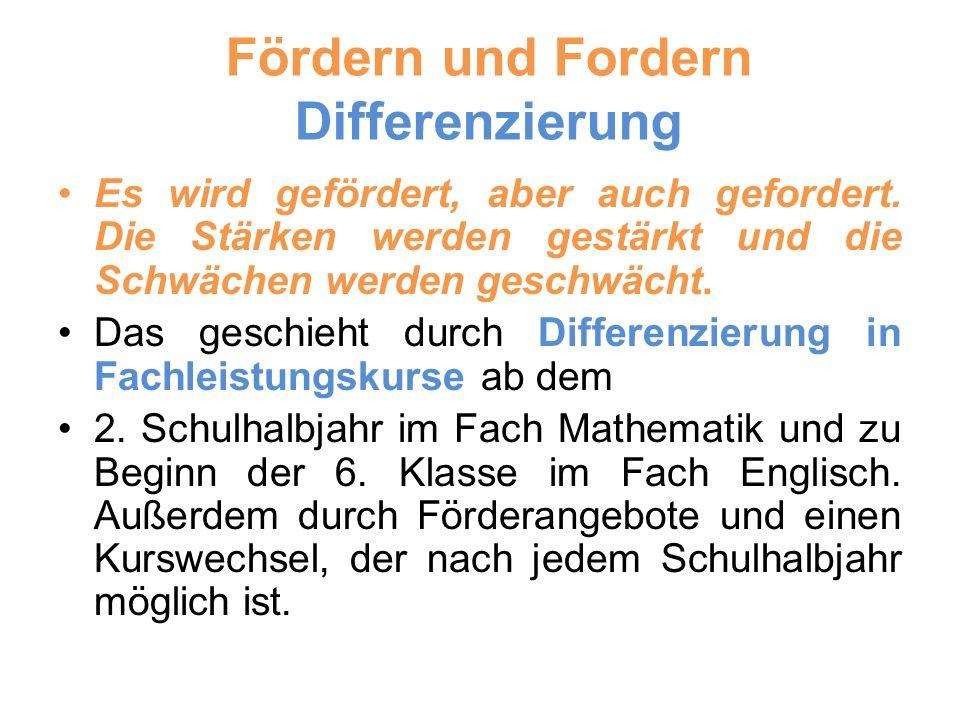 Fördern und Fordern Differenzierung Es wird gefördert, aber auch gefordert.