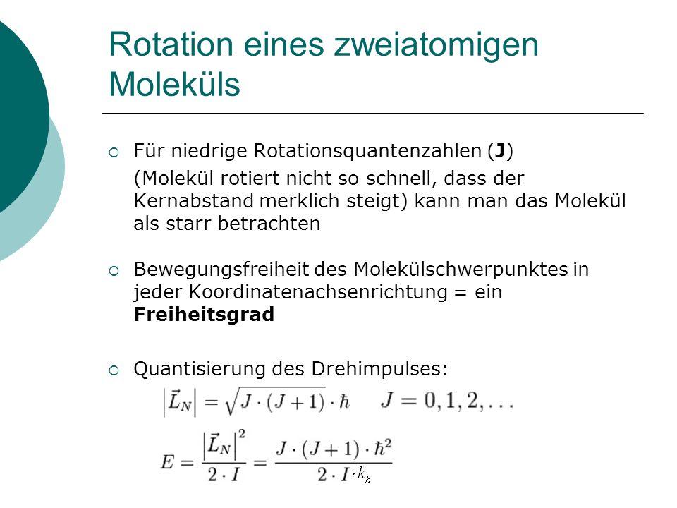 Rotation eines zweiatomigen Moleküls Für niedrige Rotationsquantenzahlen (J) (Molekül rotiert nicht so schnell, dass der Kernabstand merklich steigt)