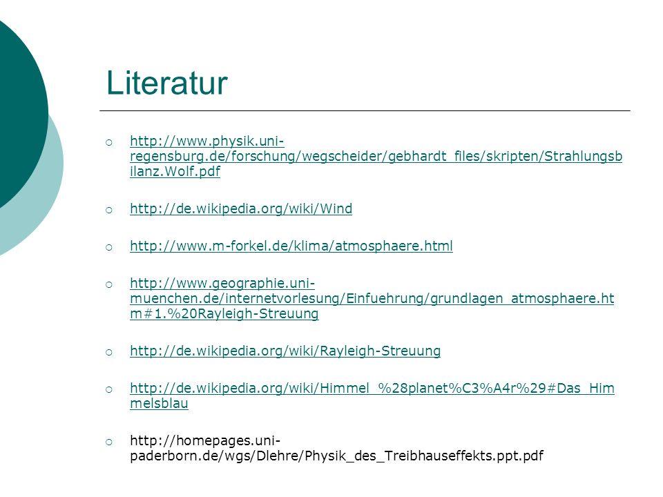 Literatur http://www.physik.uni- regensburg.de/forschung/wegscheider/gebhardt_files/skripten/Strahlungsb ilanz.Wolf.pdf http://www.physik.uni- regensb