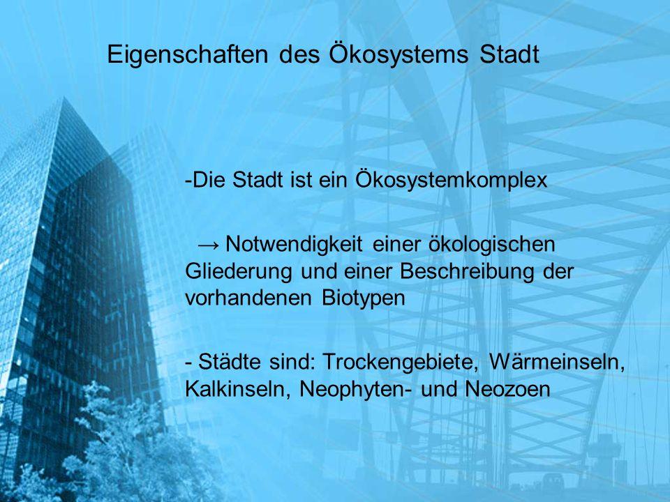 Eigenschaften des Ökosystems Stadt -Die Stadt ist ein Ökosystemkomplex Notwendigkeit einer ökologischen Gliederung und einer Beschreibung der vorhande