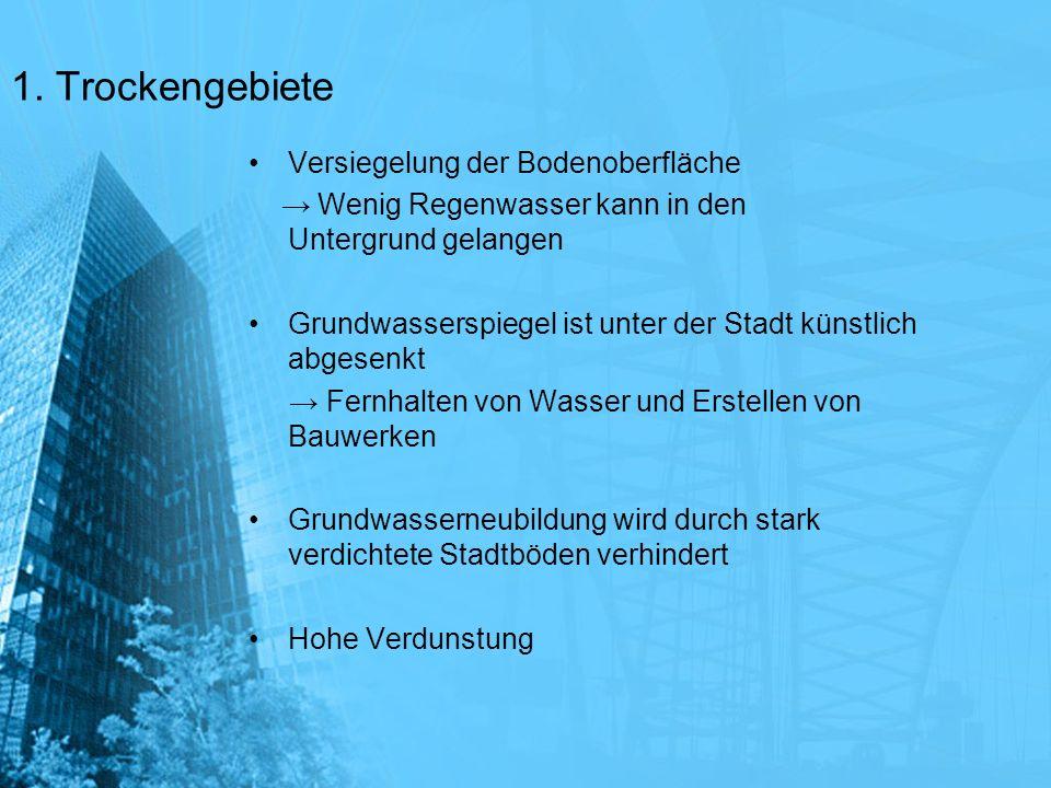 1. Trockengebiete Versiegelung der Bodenoberfläche Wenig Regenwasser kann in den Untergrund gelangen Grundwasserspiegel ist unter der Stadt künstlich