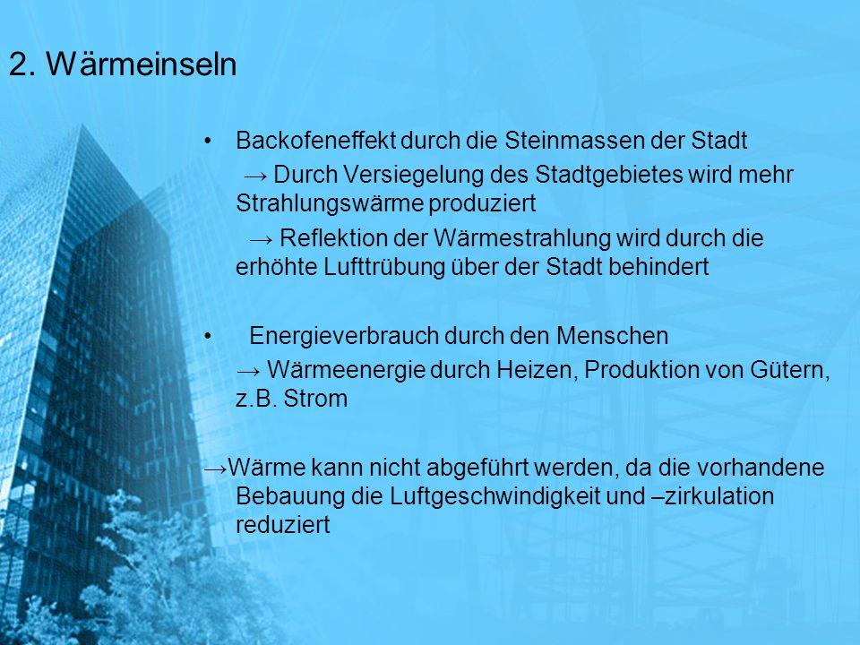 2. Wärmeinseln Backofeneffekt durch die Steinmassen der Stadt Durch Versiegelung des Stadtgebietes wird mehr Strahlungswärme produziert Reflektion der