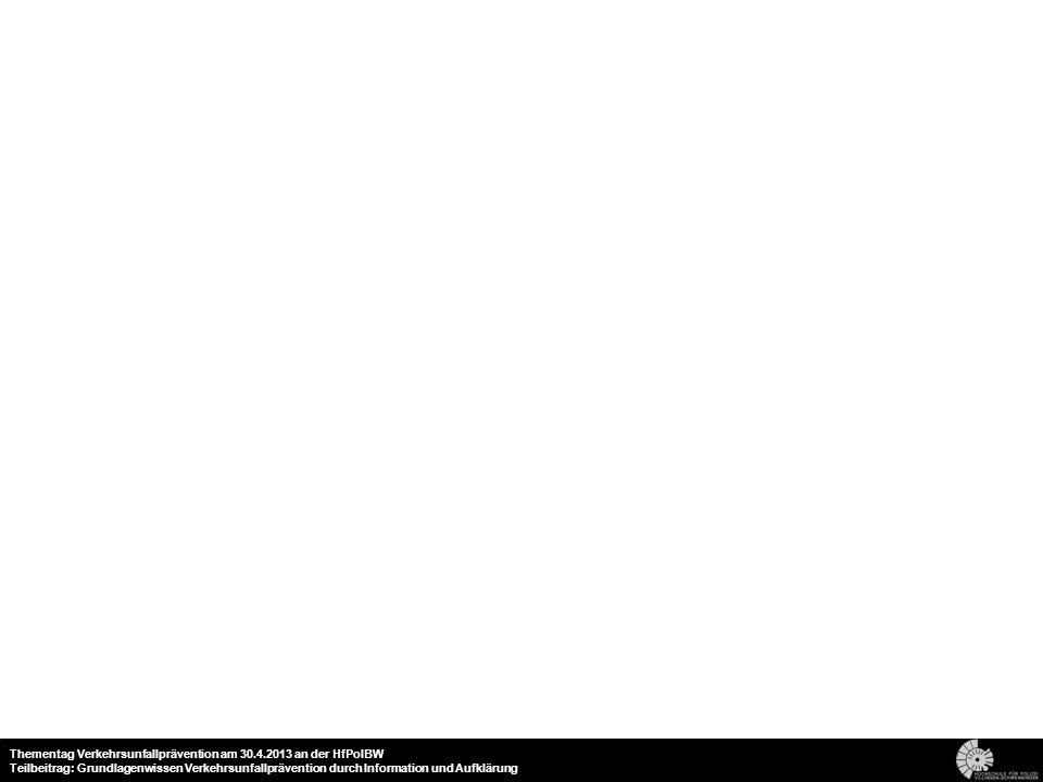 18 Thementag Verkehrsunfallprävention am 30.4.2013 an der HfPolBW Teilbeitrag: Grundlagenwissen Verkehrsunfallprävention durch Information und Aufklär