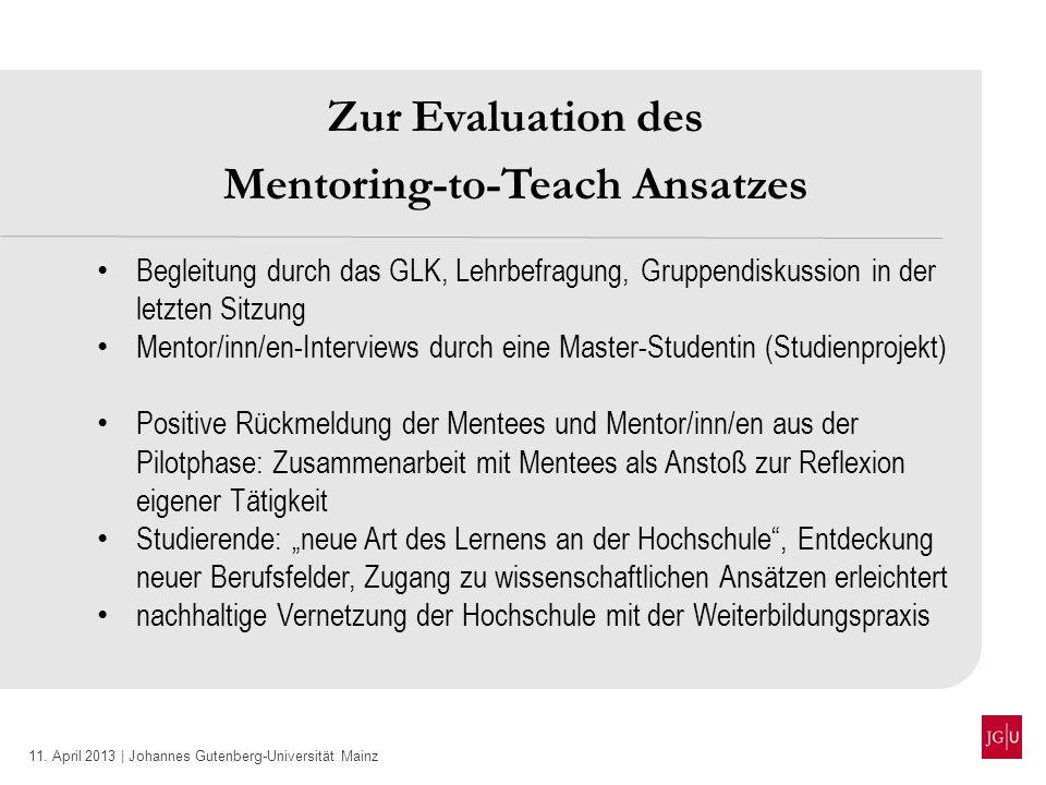 11. April 2013 | Johannes Gutenberg-Universität Mainz Zur Evaluation des Mentoring-to-Teach Ansatzes Begleitung durch das GLK, Lehrbefragung, Gruppend