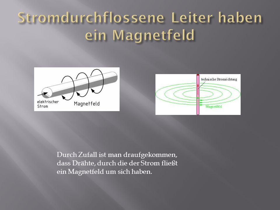 Wenn Strom durch einen Draht fließt, hast du rundherum ein Magnetfeld.