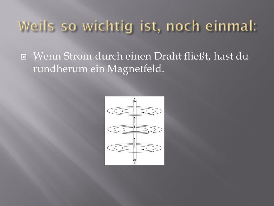 Der aufgewickelte Draht, man nennt das Spule, gibt einen prima Elektromagneten.