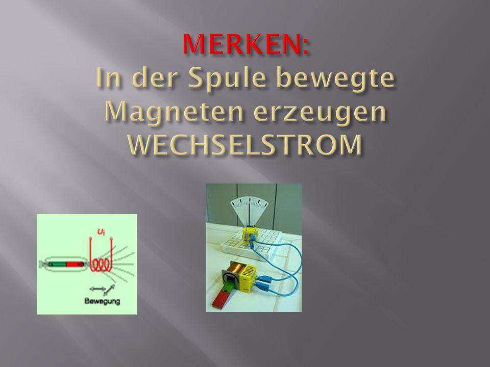 Wenn du durch das Bewegen eines Magneten in einer Spule Strom erzeugst, nennt man das Induktion.