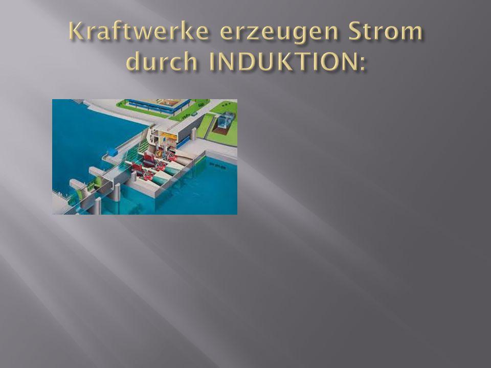 Im Kraftwerk dreht ein Wasserrad den Magneten in der Spule und erzeugt Strom.