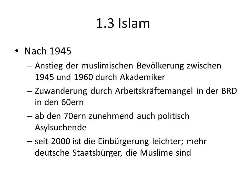 1.3 Islam Nach 1945 – Anstieg der muslimischen Bevölkerung zwischen 1945 und 1960 durch Akademiker – Zuwanderung durch Arbeitskräftemangel in der BRD