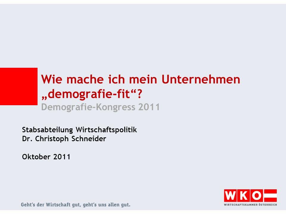 Handlungsbedarf für Unternehmen: Integration von Menschen mit Migrationshintergrund Komponenten der Bevölkerungszunahme in Österreich Statistik Austria Bevölkerungszunahme in Österreich hauptsächlich durch Migration Qualifizierte Migration in Österreich seit Mai 2011 erleichtert Mai 2011: Öffnung der Arbeitsmärkte für Arbeitnehmer aus den neuen EU- Mitgliedstaaten Rot-Weiß-Rot-Card seit Juli 2011 Qualifizierte Zuwanderung durch transparentes Punktesystem Ohne Migration würde die Bevölkerung in Österreich stagnieren