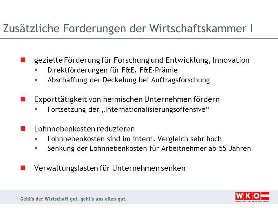 Zusätzliche Forderungen der Wirtschaftskammer I gezielte Förderung für Forschung und Entwicklung, Innovation Direktförderungen für F&E, F&E-Prämie Abs