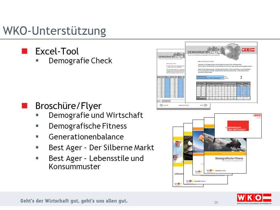 WKO-Unterstützung Excel-Tool Demografie Check Broschüre/Flyer Demografie und Wirtschaft Demografische Fitness Generationenbalance Best Ager – Der Silb