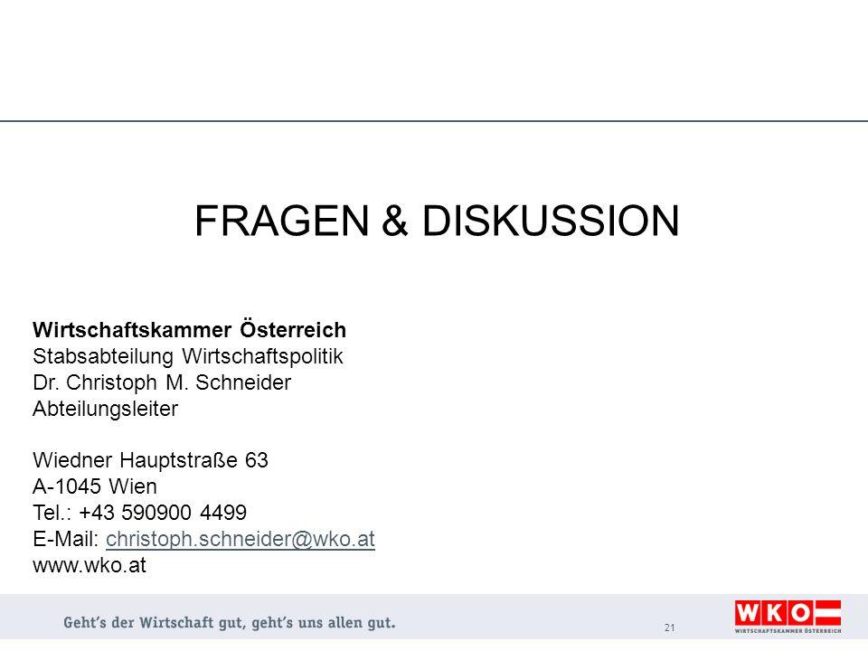 FRAGEN & DISKUSSION 21 Wirtschaftskammer Österreich Stabsabteilung Wirtschaftspolitik Dr. Christoph M. Schneider Abteilungsleiter Wiedner Hauptstraße