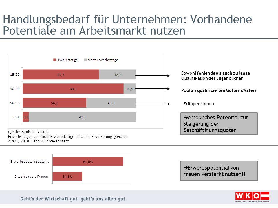 Handlungsbedarf für Unternehmen: Vorhandene Potentiale am Arbeitsmarkt nutzen Quelle: Statistik Austria Erwerbstätige und Nicht-Erwerbstätige in % der
