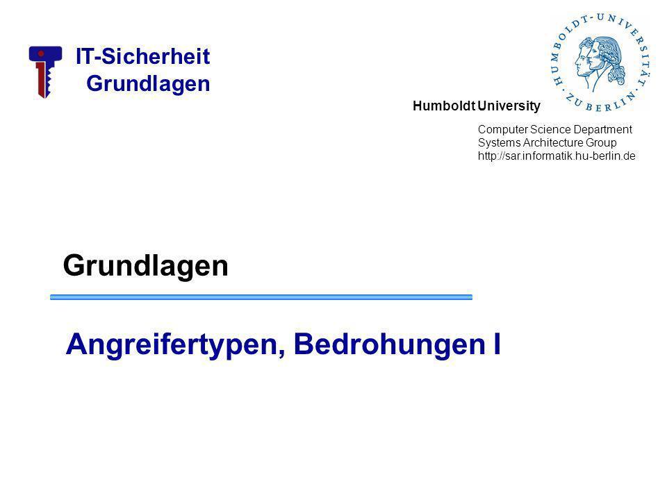 Humboldt University Computer Science Department Systems Architecture Group http://sar.informatik.hu-berlin.de IT-Sicherheit Grundlagen Angreifertypen, Bedrohungen I