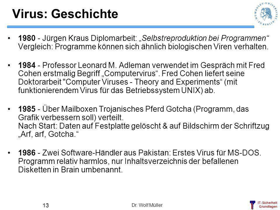 IT-Sicherheit Grundlagen Dr. Wolf Müller 13 Virus: Geschichte 1980 - Jürgen Kraus Diplomarbeit: Selbstreproduktion bei Programmen Vergleich: Programme