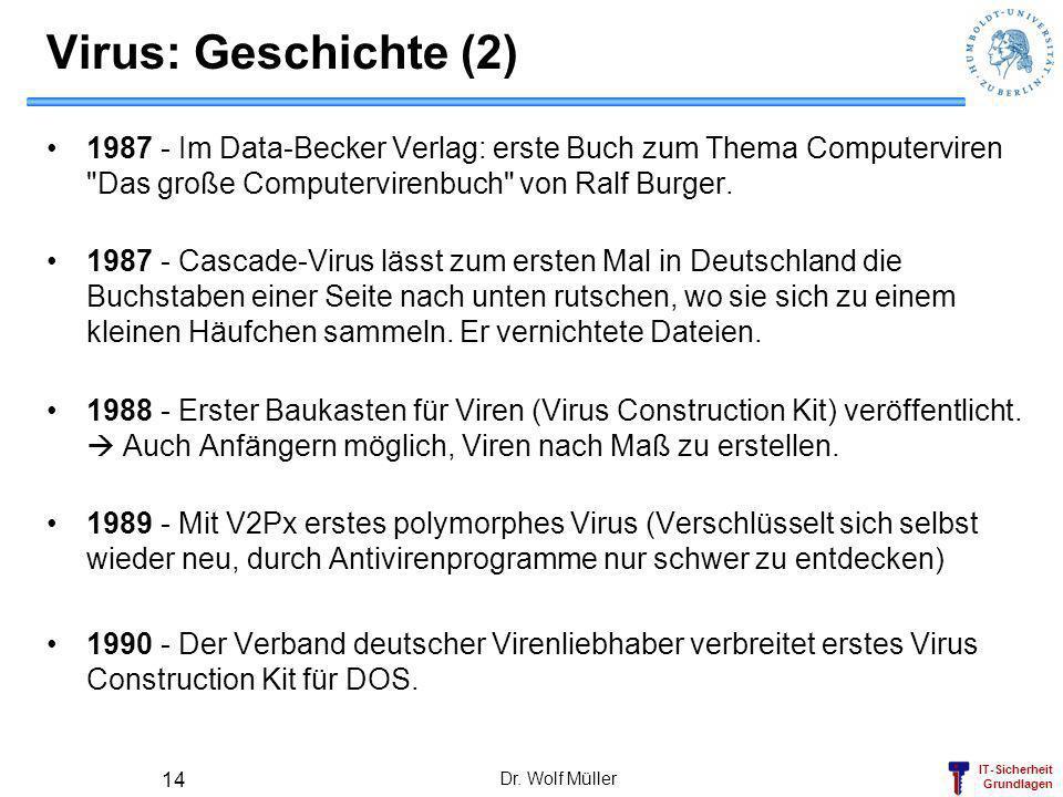 IT-Sicherheit Grundlagen Dr. Wolf Müller 14 Virus: Geschichte (2) 1987 - Im Data-Becker Verlag: erste Buch zum Thema Computerviren