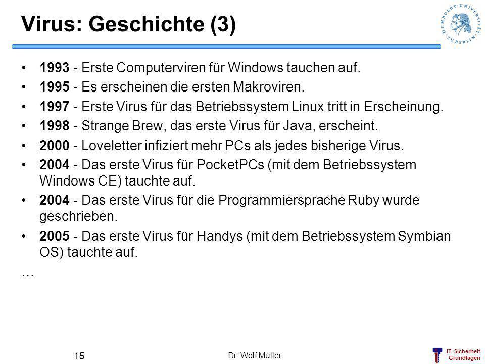 IT-Sicherheit Grundlagen Dr. Wolf Müller 15 Virus: Geschichte (3) 1993 - Erste Computerviren für Windows tauchen auf. 1995 - Es erscheinen die ersten