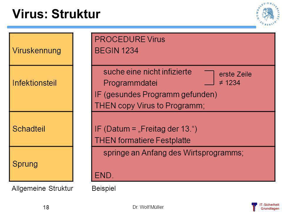 IT-Sicherheit Grundlagen Dr. Wolf Müller 18 Virus: Struktur Viruskennung PROCEDURE Virus BEGIN 1234 Infektionsteil suche eine nicht infizierte Program