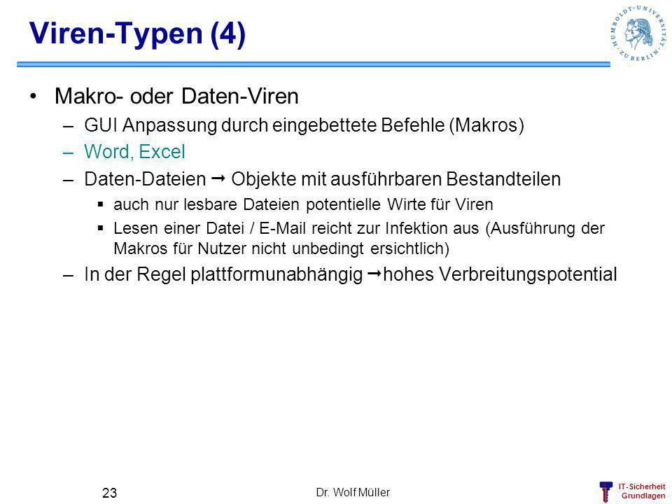 IT-Sicherheit Grundlagen Dr. Wolf Müller 23 Viren-Typen (4) Makro- oder Daten-Viren –GUI Anpassung durch eingebettete Befehle (Makros) –Word, Excel –D