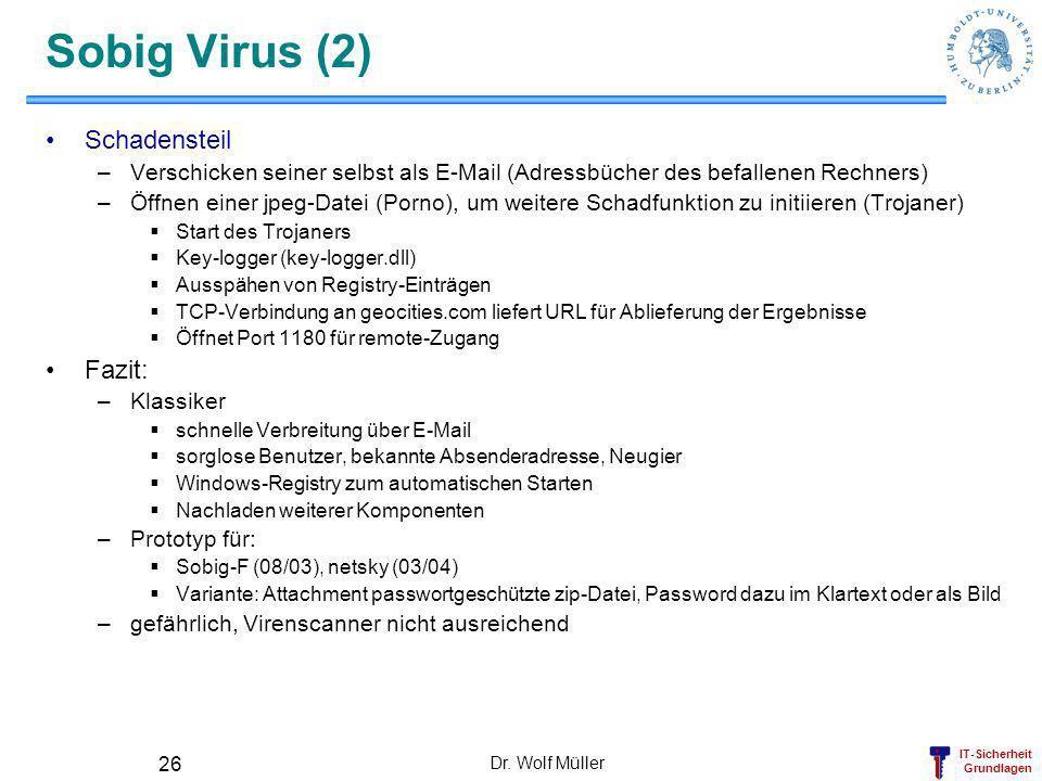 IT-Sicherheit Grundlagen Dr. Wolf Müller 26 Sobig Virus (2) Schadensteil –Verschicken seiner selbst als E-Mail (Adressbücher des befallenen Rechners)