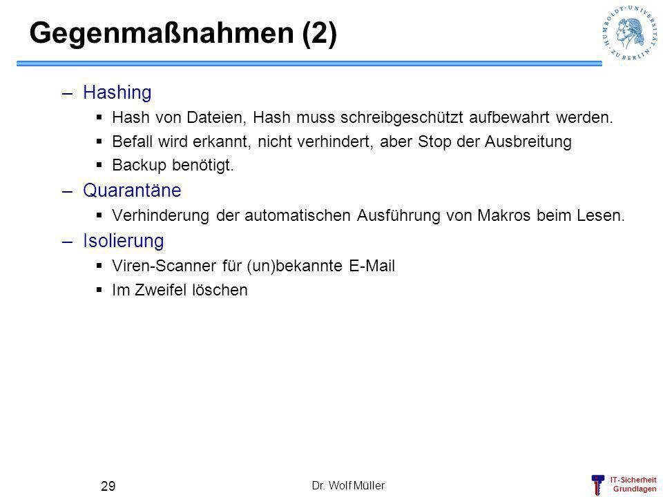 IT-Sicherheit Grundlagen Dr. Wolf Müller 29 Gegenmaßnahmen (2) –Hashing Hash von Dateien, Hash muss schreibgeschützt aufbewahrt werden. Befall wird er