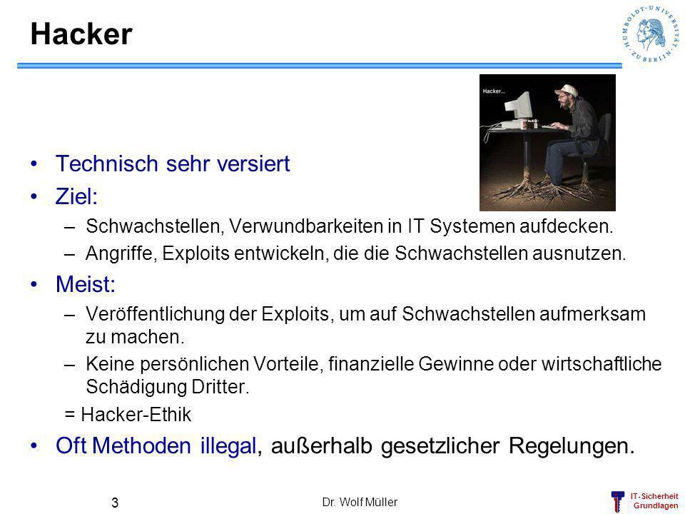 IT-Sicherheit Grundlagen Dr. Wolf Müller 3 Hacker Technisch sehr versiert Ziel: –Schwachstellen, Verwundbarkeiten in IT Systemen aufdecken. –Angriffe,