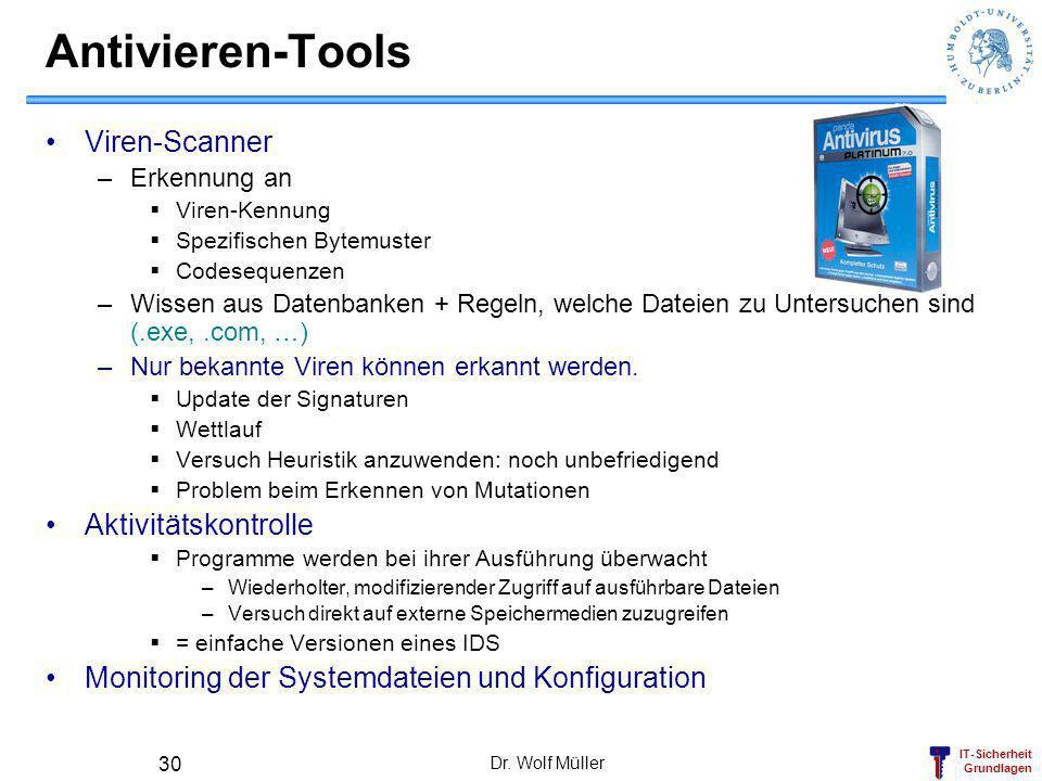 IT-Sicherheit Grundlagen Dr. Wolf Müller 30 Antivieren-Tools Viren-Scanner –Erkennung an Viren-Kennung Spezifischen Bytemuster Codesequenzen –Wissen a