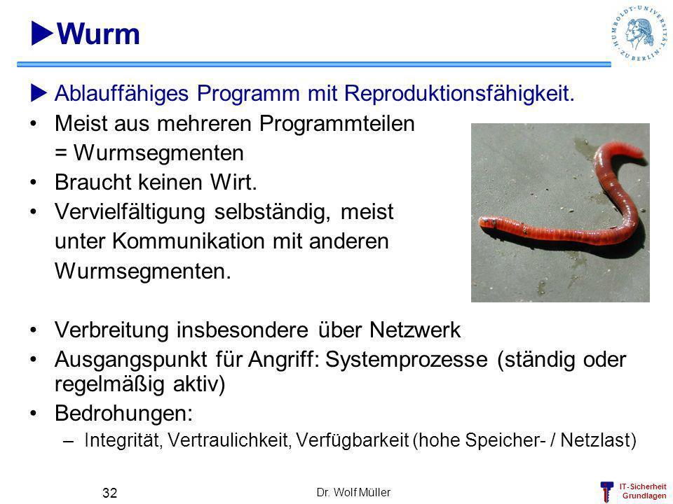 IT-Sicherheit Grundlagen Dr. Wolf Müller 32 Wurm Ablauffähiges Programm mit Reproduktionsfähigkeit. Meist aus mehreren Programmteilen = Wurmsegmenten