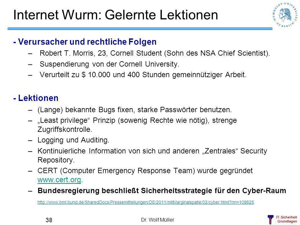 IT-Sicherheit Grundlagen Dr. Wolf Müller 38 Internet Wurm: Gelernte Lektionen - Verursacher und rechtliche Folgen – Robert T. Morris, 23, Cornell Stud