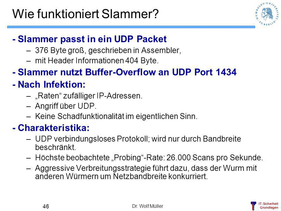 IT-Sicherheit Grundlagen Dr. Wolf Müller 46 Wie funktioniert Slammer? - Slammer passt in ein UDP Packet –376 Byte groß, geschrieben in Assembler, –mit